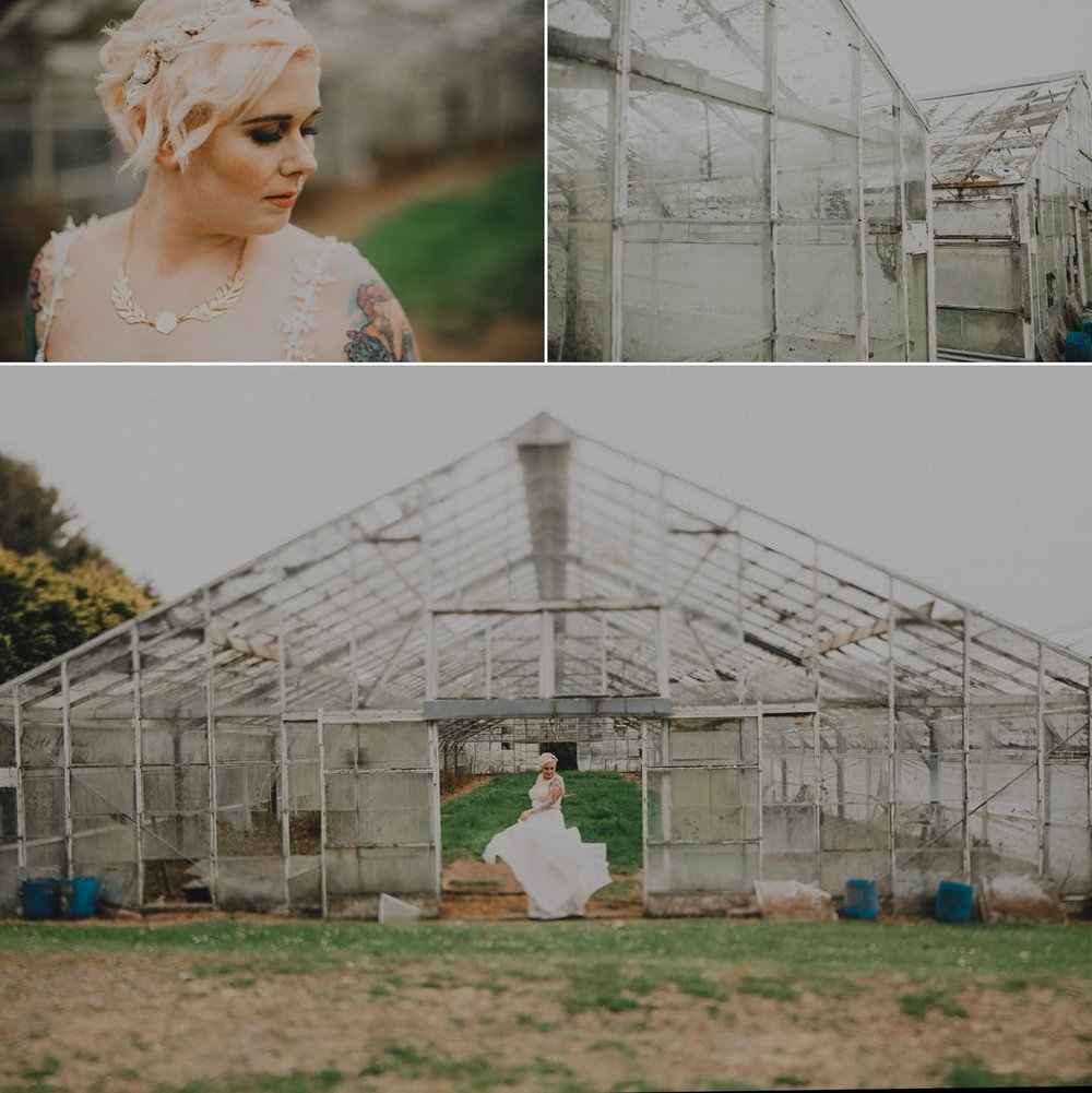 Bridal photos of alternative bride with blue eye makeup, pink hair and tattoos in Sally Eagle Marilyn Dress