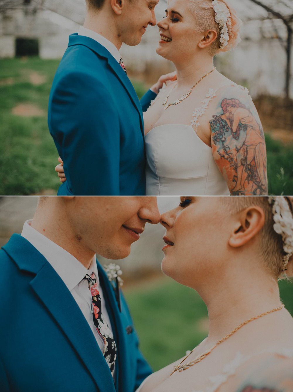 Candid wedding photos of bride and groom with tattoos in a glasshouse
