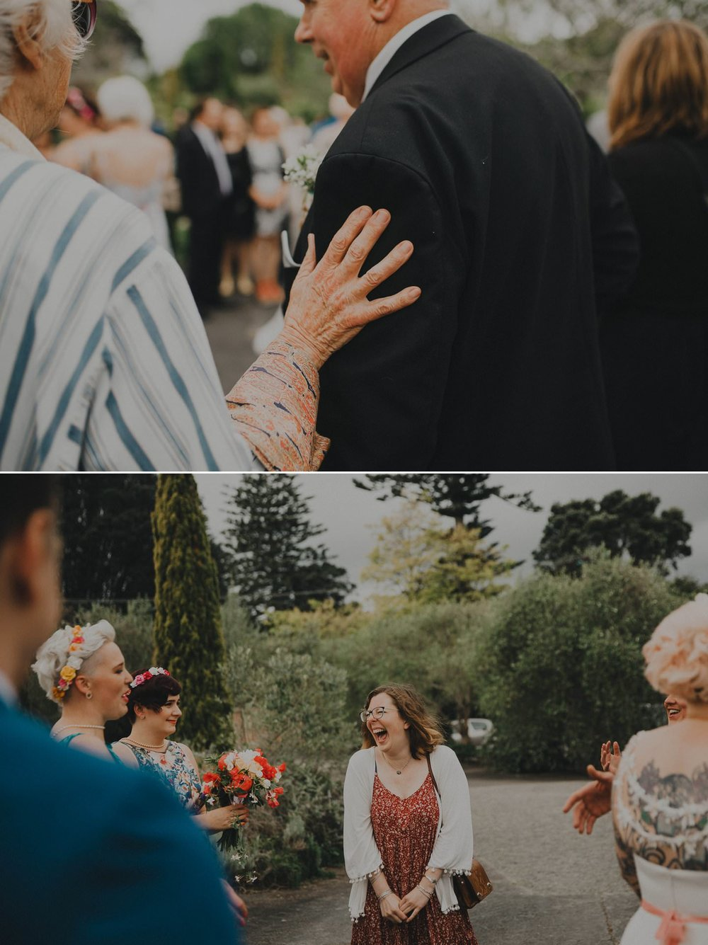Candid wedding photography of guests at a wedding