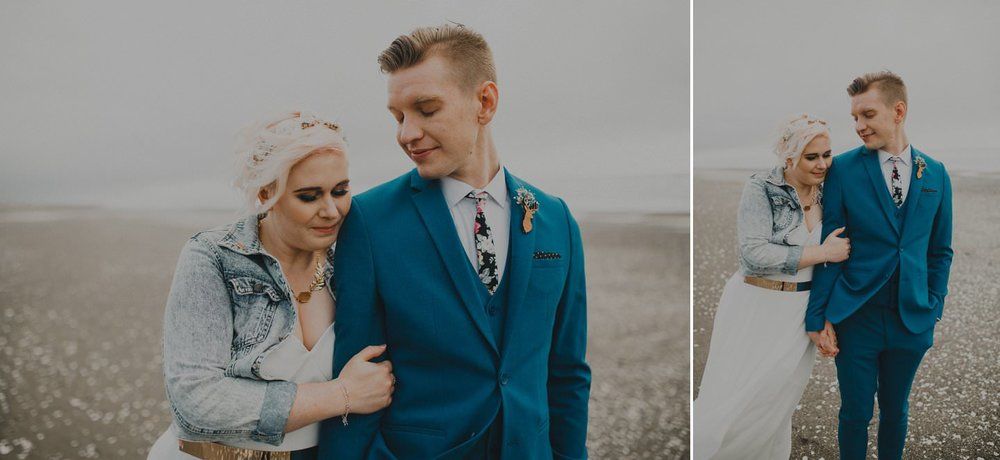 Alternative wedding couple on the beach Otaki, Kapiti Coast