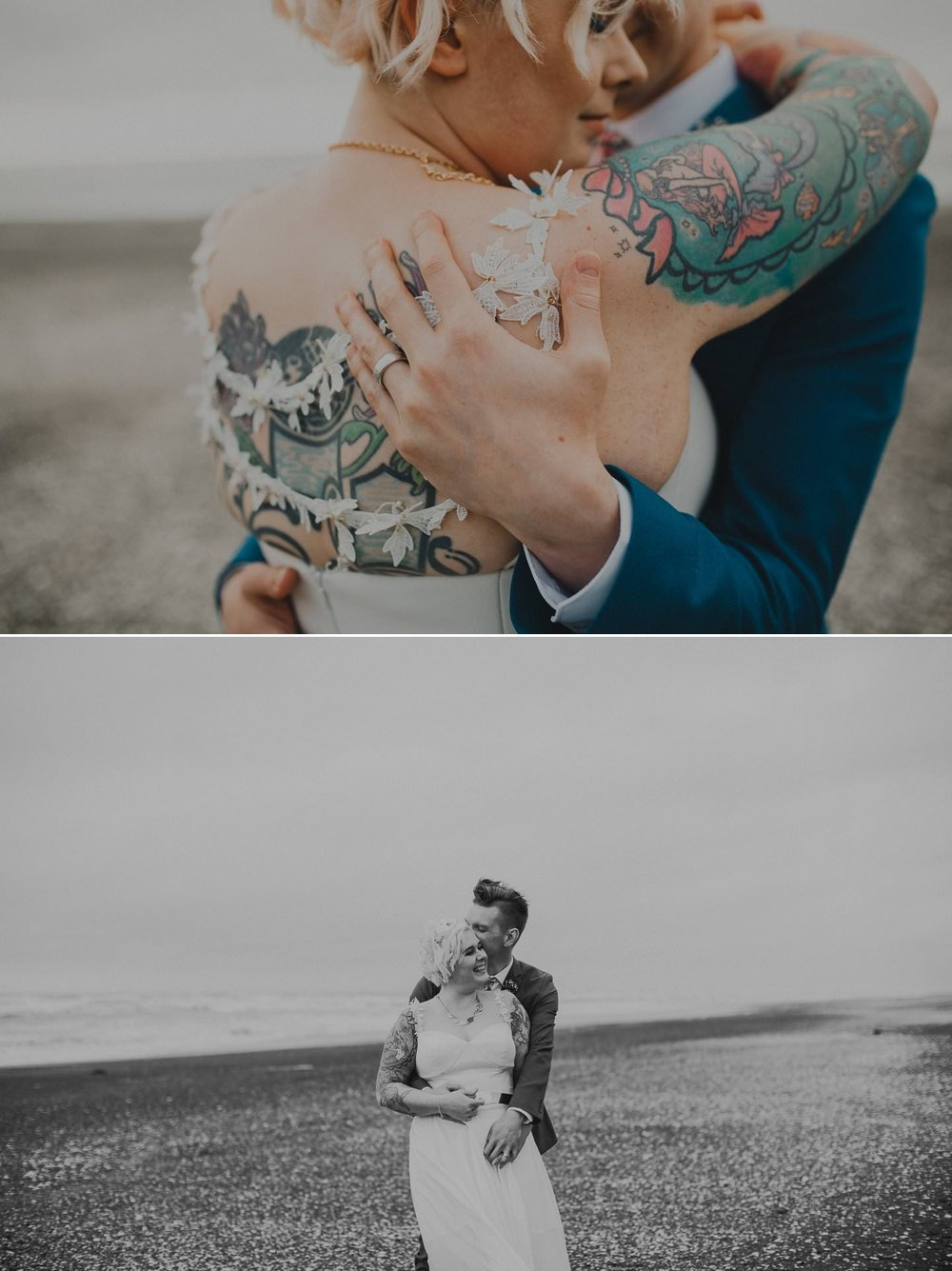 Tattooed bride on the beach in couple photos