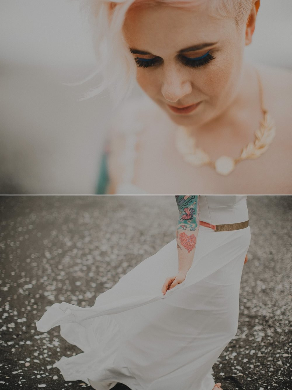 Inked bride with perfect eyebrows, Meadowlark jewelry and colored hair. Wearing a Sally Eagle wedding dress.