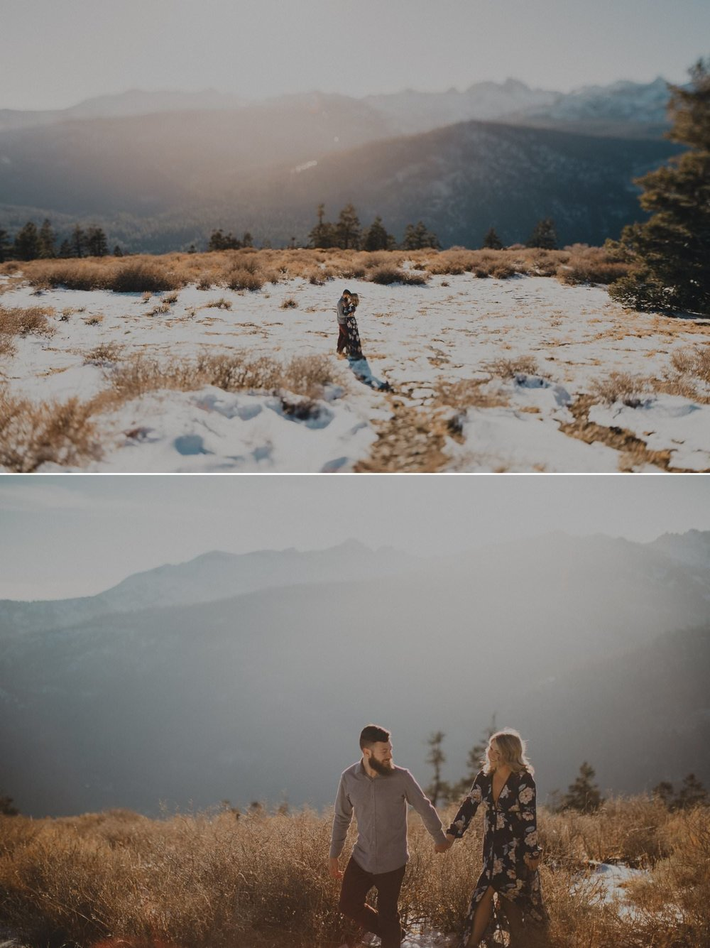 Epic engagement photos on a mountain top. Wedding photographer California.