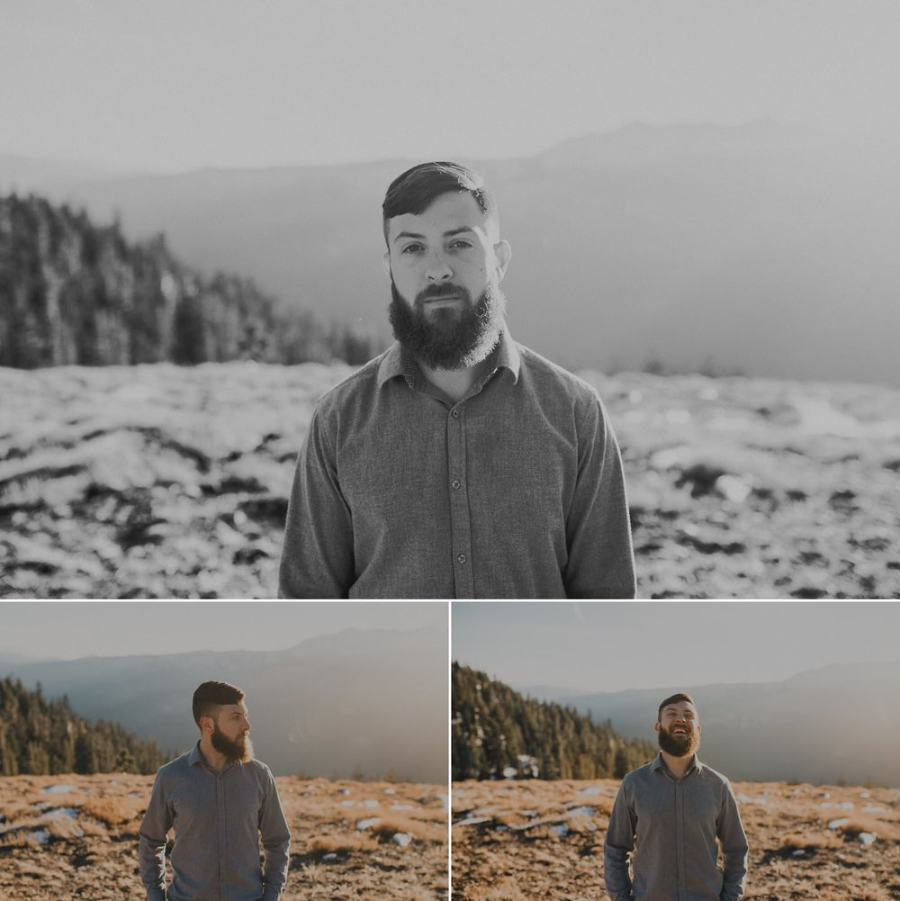 Stylish man on mammoth mountains in the sunset light