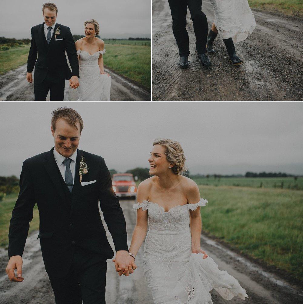 Bride and groom in gumboots. Farm wedding nz