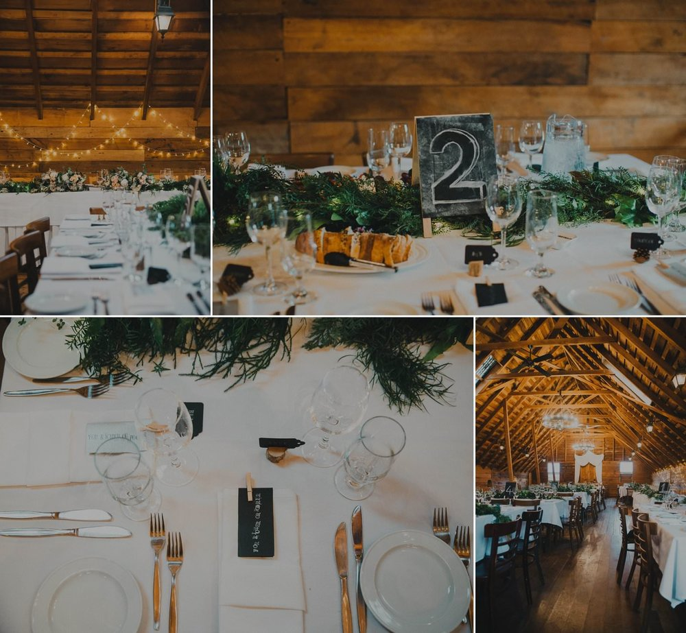 Rustic wedding table decorations at barn wedding