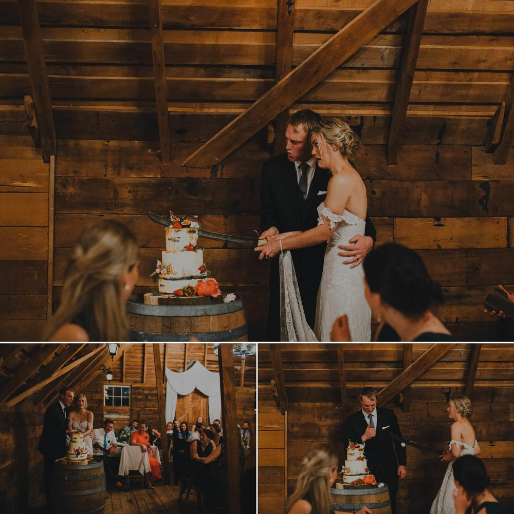 Cutting the wedding cake with a sword
