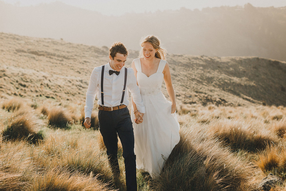 Wedding Photographers Christchurch | Sunset wedding photographs on the Port Hills above Christchurch.