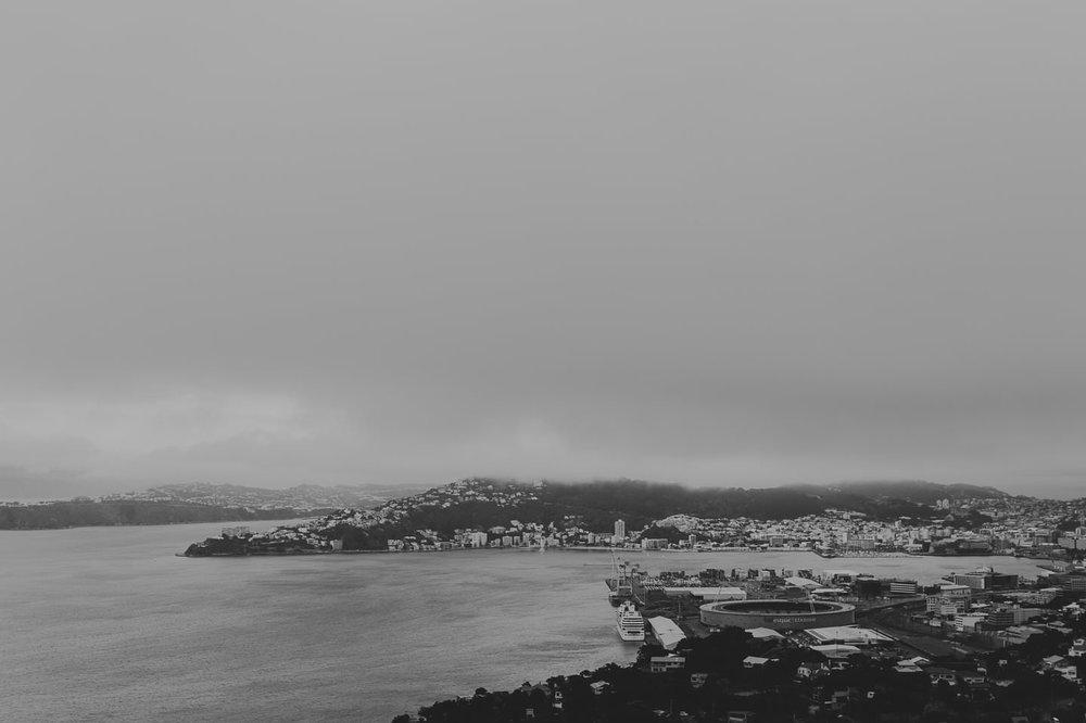Misty morning overlooking Wellington harbour