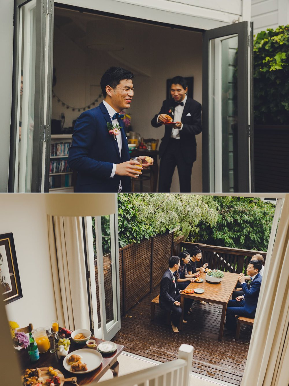 Groom having wedding day brunch with his family on their deck in New Zealand