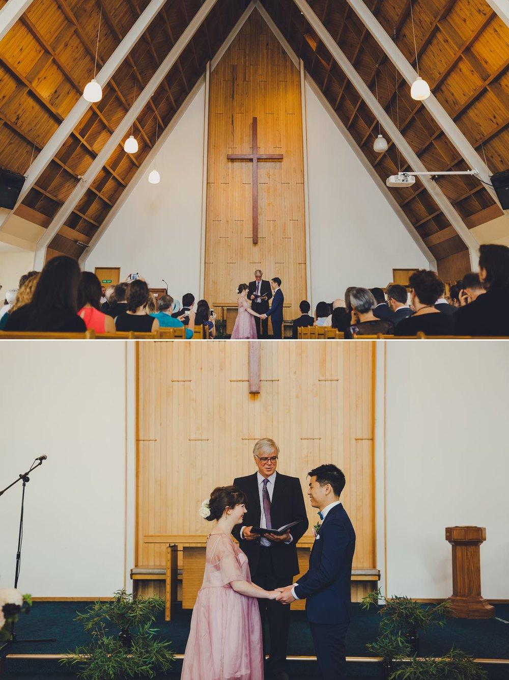 Wedding ceremony held at Island Bay Presbyterian Church