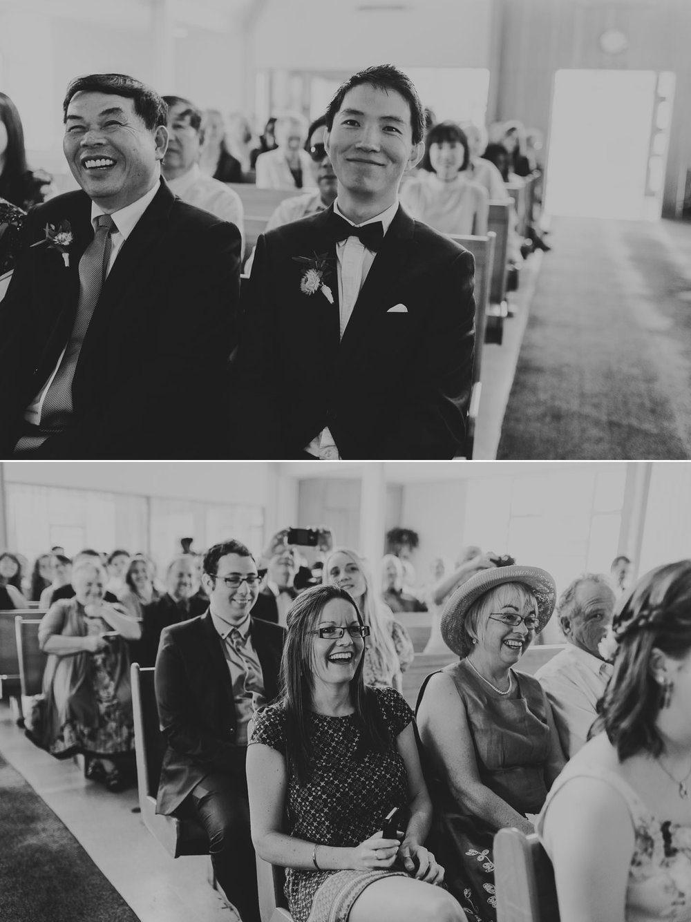 Documentary photos of guests reactions during wedding ceremony