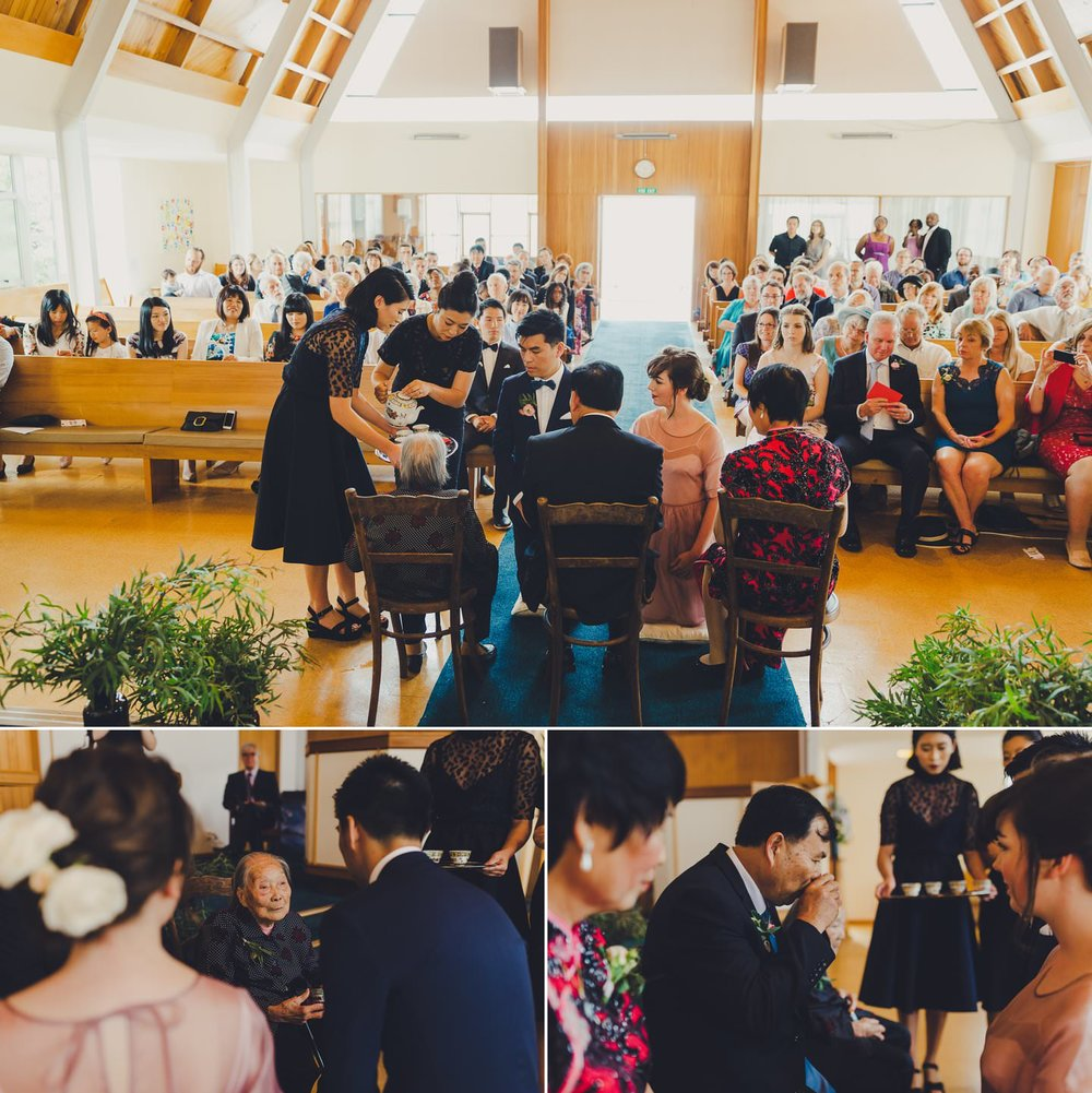 Chinese tea ceremony being held during a western church wedding ceremony