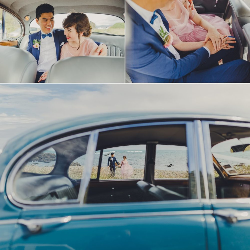 Artistic shots of couple with classic vintage blue car