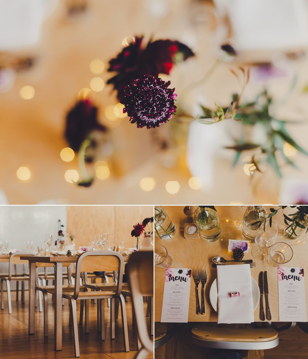 Vibrant stationery, the perfect complement to the minimalist style and neutral tones of the venue. Prefab, Wellington