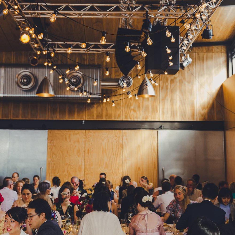 Industrial modern city wedding at Prefab Eatery