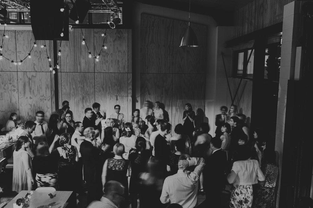 Wedding dancefloor at Prefab Hall, Wellington