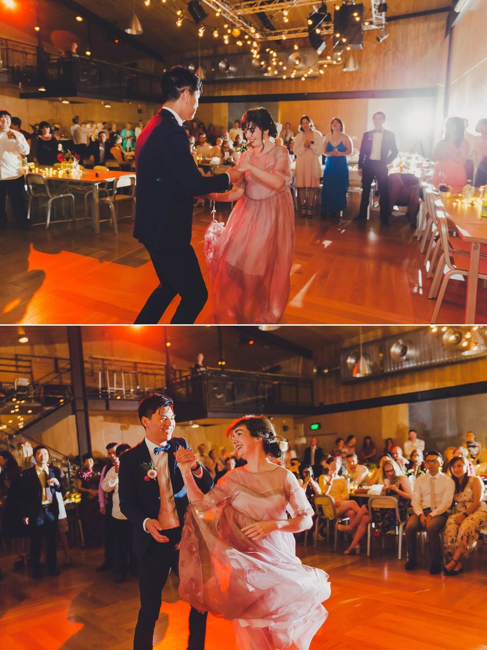 Hipster wedding photos; Bride and groom fun first dance
