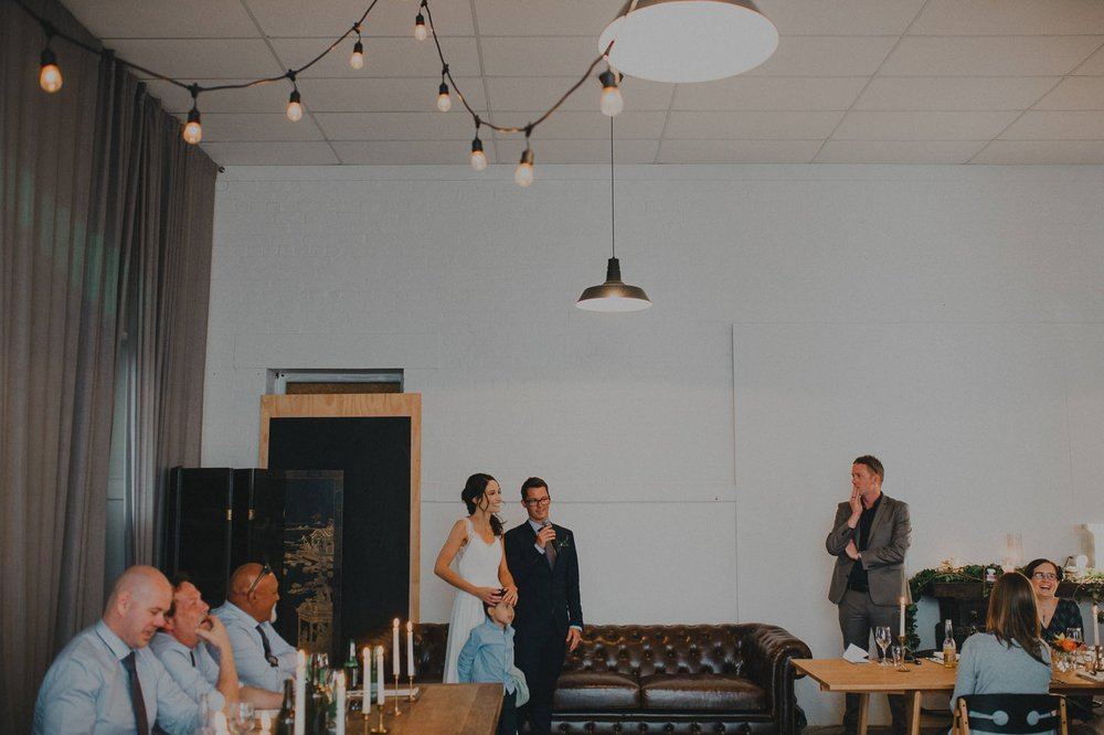 Wedding speeches at the old fire station, Whanganui