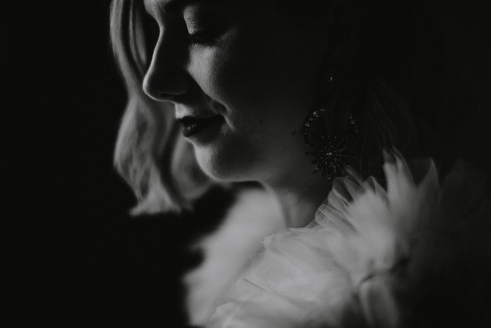 Black and white moody bridal photos