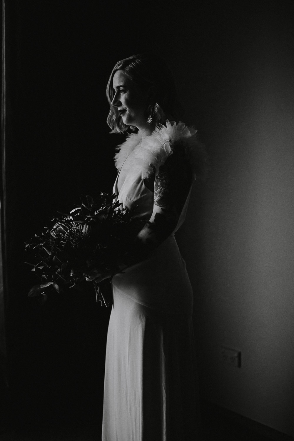 Alternative Tattooed bride in black and white photo hollywood glamour style