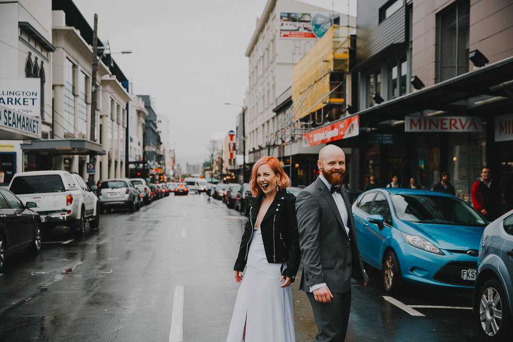 Wedding photos on Cuba street in leather jackets
