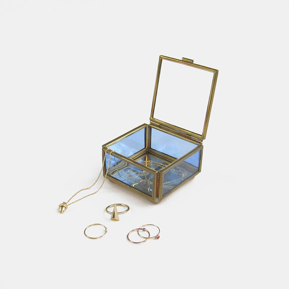 Vintage Glass Jewelry Box from English Cottage