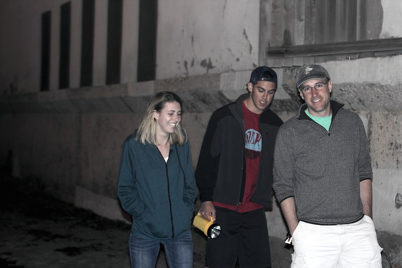 Dr. Fisher (R) and two students search in vain for grunion...