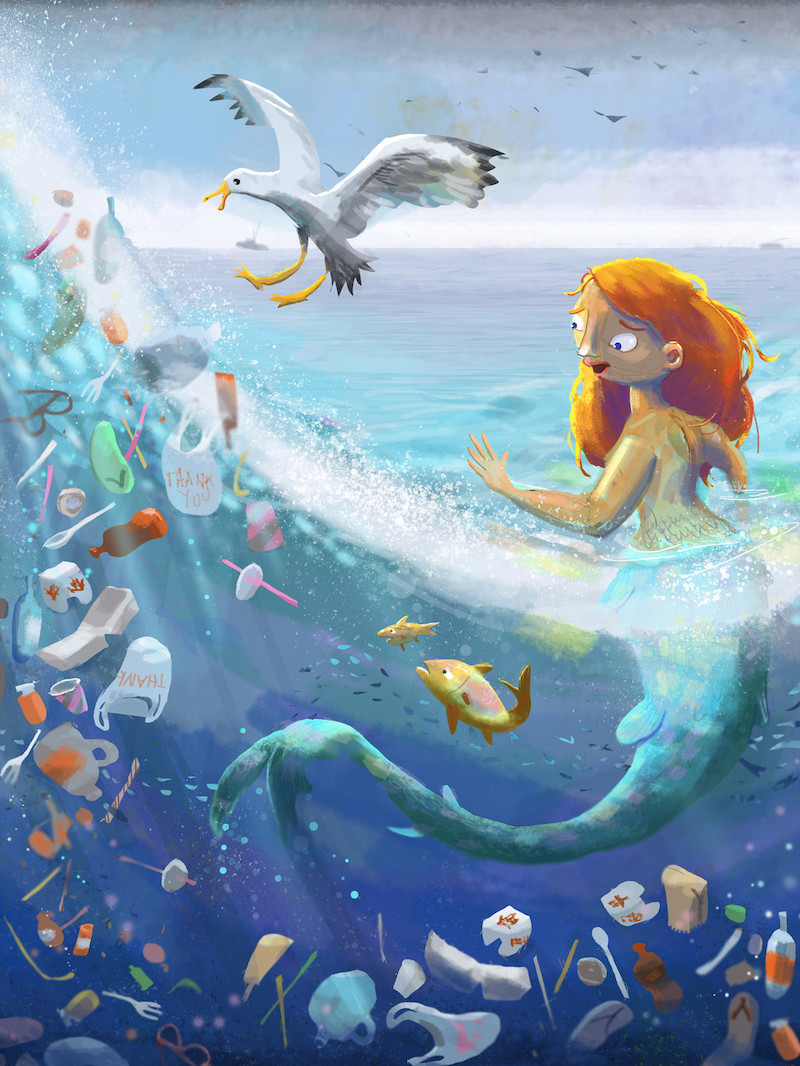 Mermaid and the Plastic Ocean by Skylaar Amaan, one of the Climate Science Alliance collaborating artists and a great follow on twitter or instagram (@skylaara)