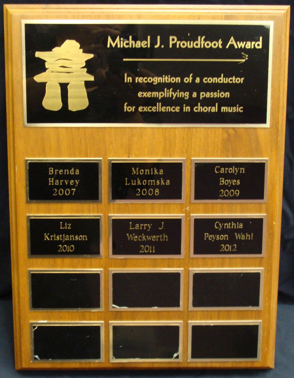 Michael J. Proudfoot Award
