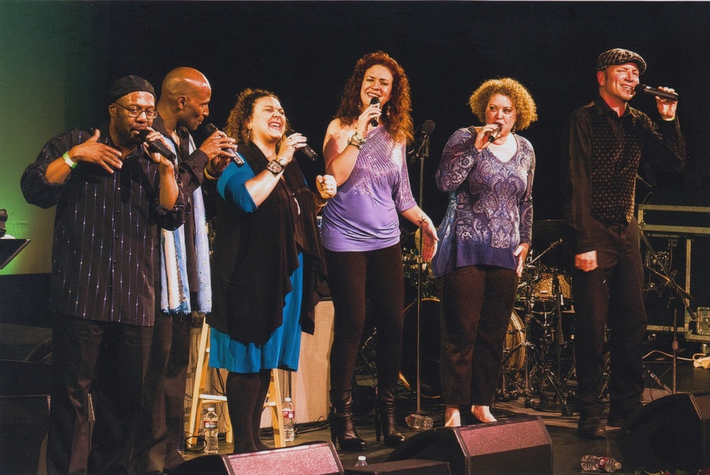 Sovoso is (L to R) Bryan Dyer, Vernon Bush, Sunshine Becker, Ashling Cole, Zoe Ellis, & David Worm  - Photo by Ken Friedman