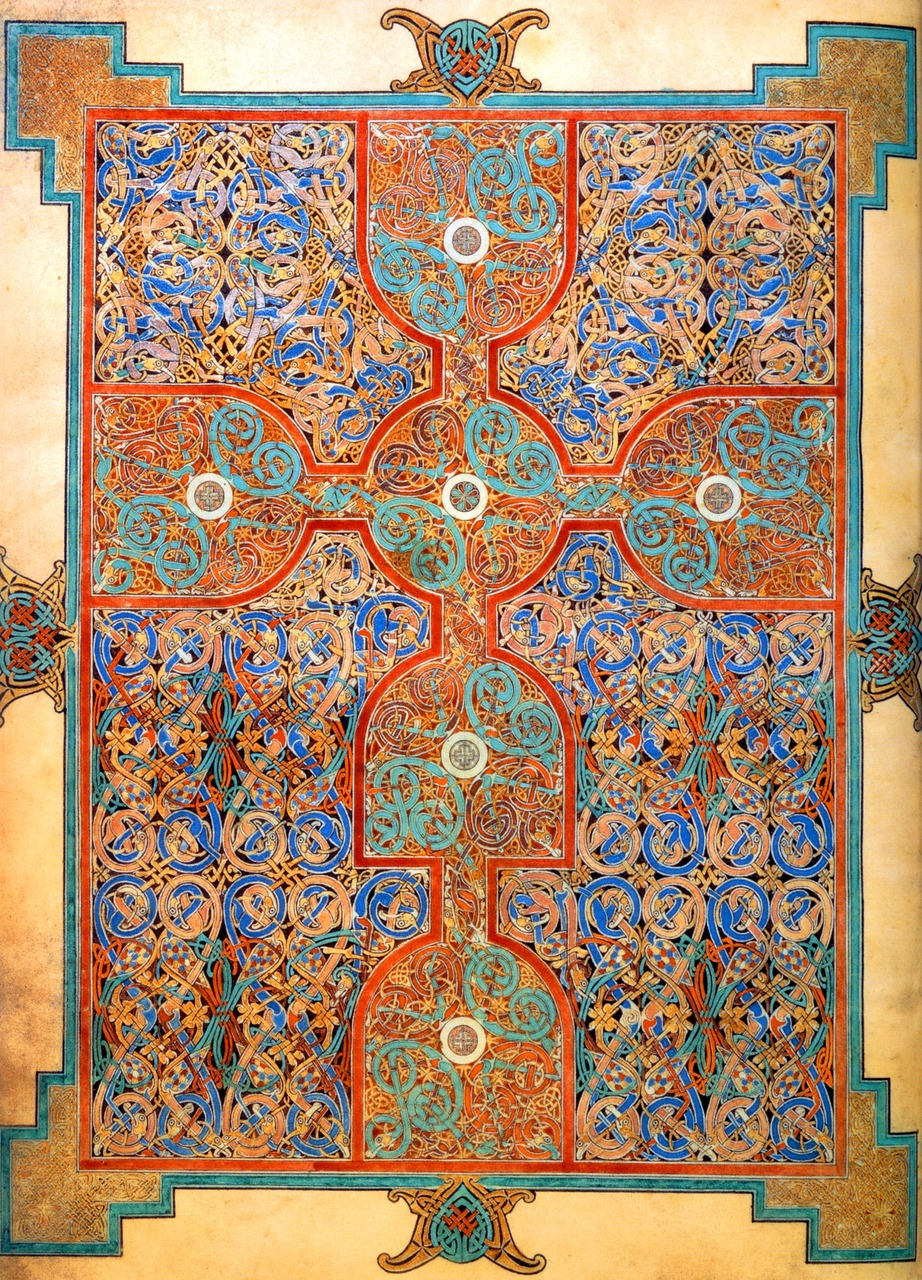 Lindisfarne Gospel 'carpet page'  produced on Lindisfarne in Northumbria in the late 7th century or early 8th century.