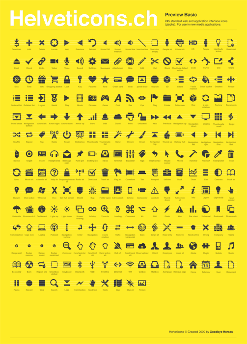 Helveticons is a new set of royalty-free icons, glyphs and symbols based on the Helvetica Bold typeface.