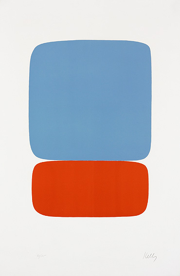 Elsworth Kelly 'Blue Over Orange' USA, 1964-65 - lithograph on Rives BFK paper