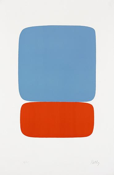 Elsworth Kelly 'Blue Over Orange'    USA, 1964-65               - lithograph on Rives BFK paper