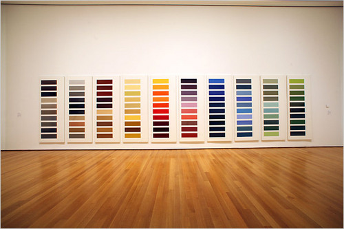 """Ten Large Color Panels"" - Gerhard Richter (1966-71/72), ""a 31-foot sequence that elevates hardware-store paint chips to monumental proportions."" Part of the exhibition ""Color Chart: Reinventing Color, 1950 to Today"" at the New York Museum of Modern Art, which also includes the wonderful wonderful Rebus by Rauschenberg."