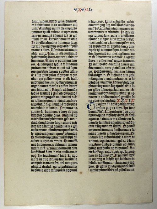 Page from Gutenburg's bible via agrippa.english.ucsb.edu