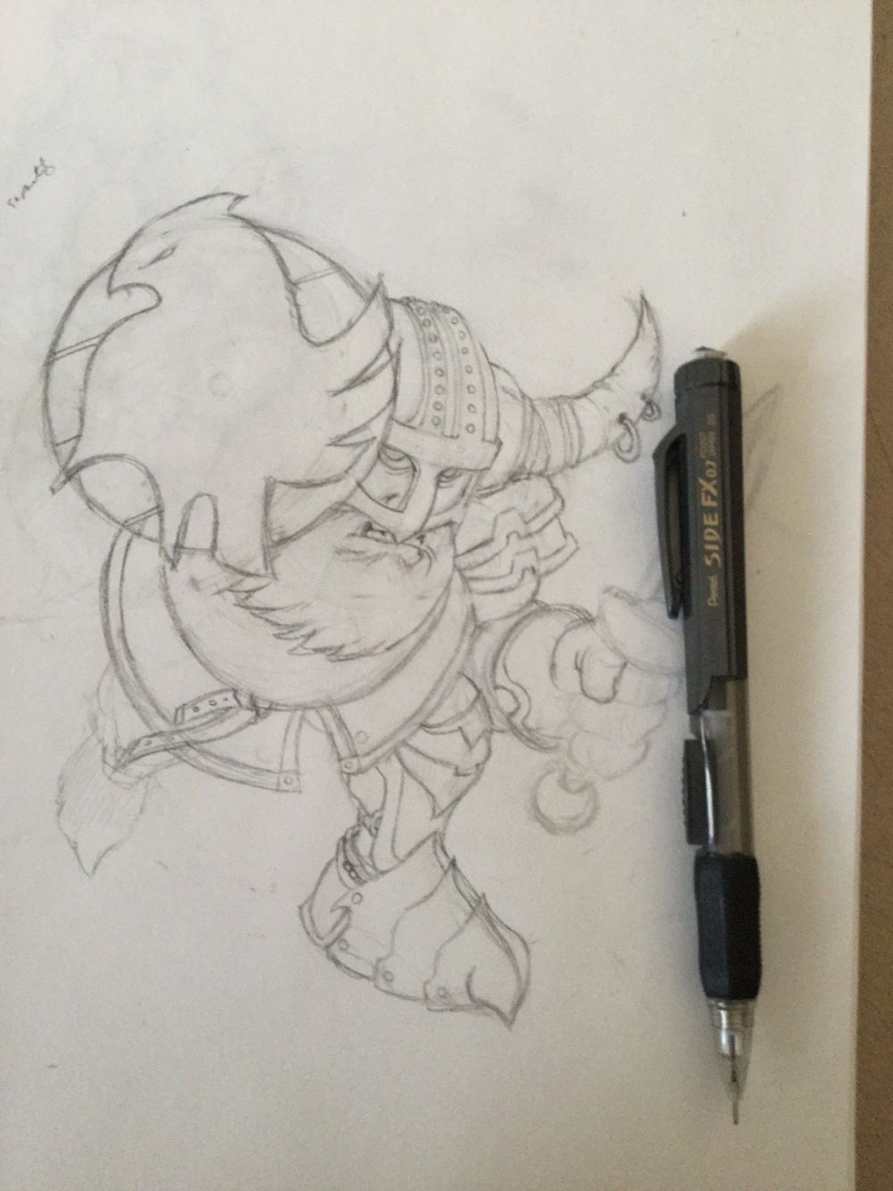Original sketch of the Dwarf Warrior, drawn with mechanical pencil.