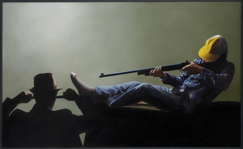 Chris Cran,  Self-Portrait Watching a Man about to Shoot Himself in the Foot , 1985, Collection of Glenbow Museum