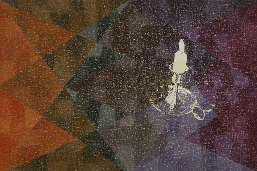 Static Image Painting/ Orange/ Candle/ Medicine Hat
