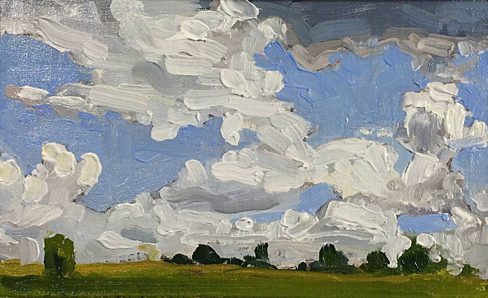 Clouds Over Yasgur's  Oil on linen panel  6 x 4