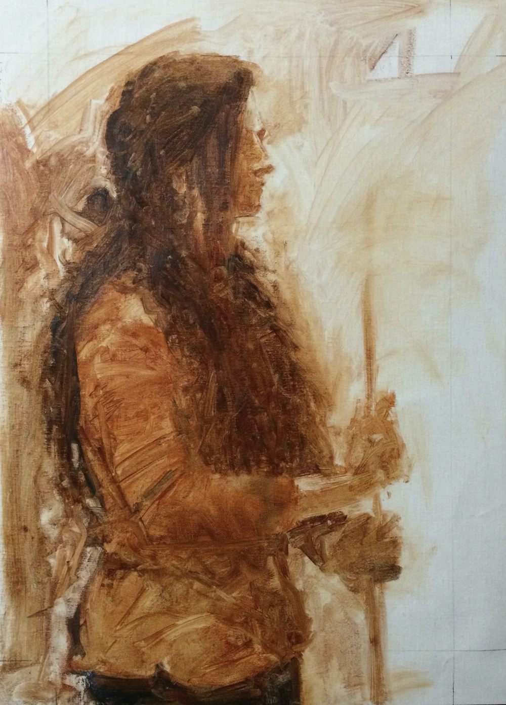 Soha Standing oil sketch on linen roughly 20x24