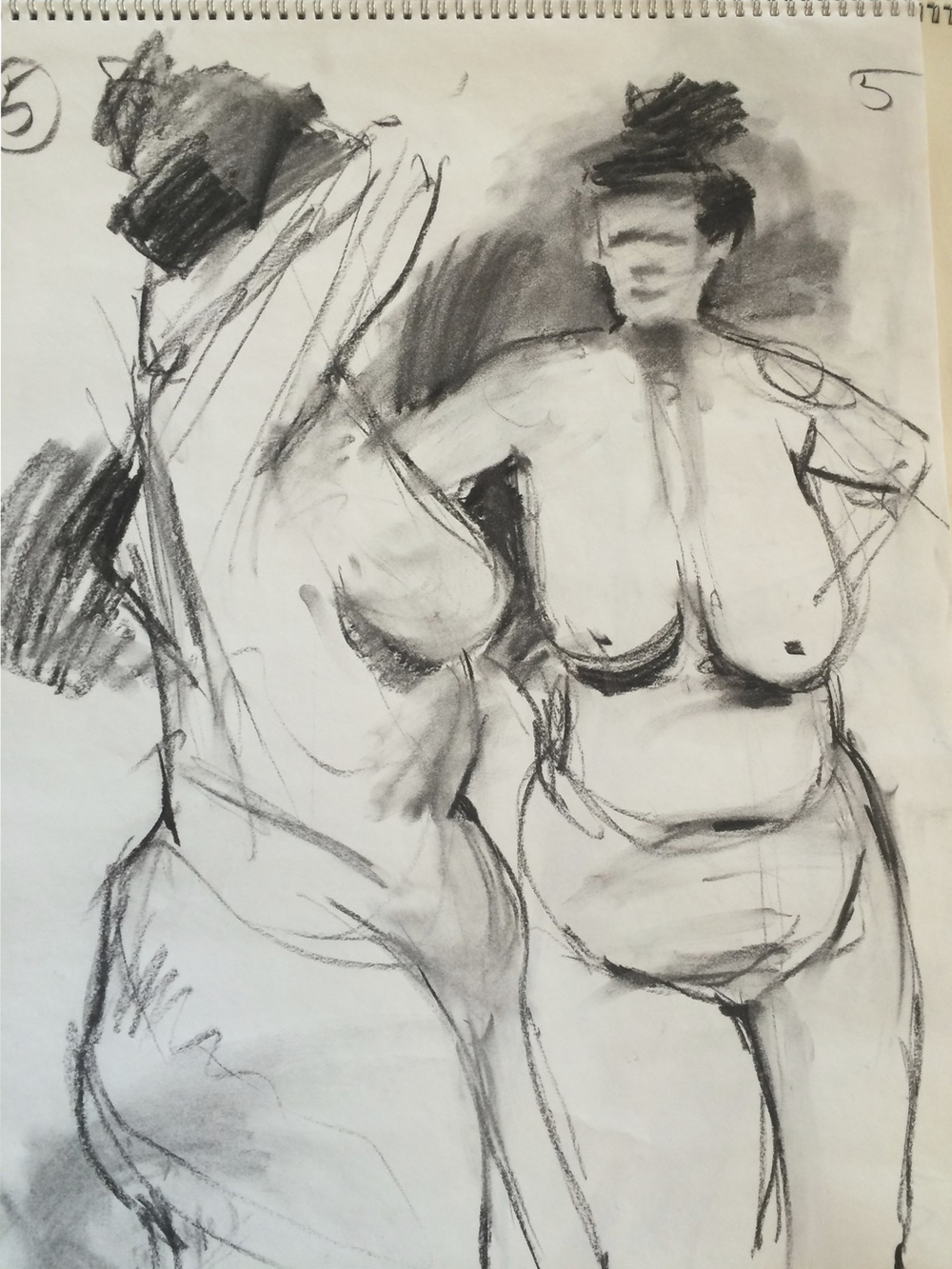 2 five minute charcoal sketches