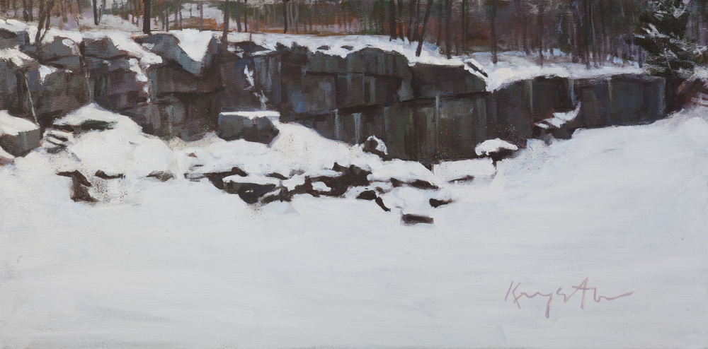 Another Roadside Quarry  30 x 15 Acrylic on linen