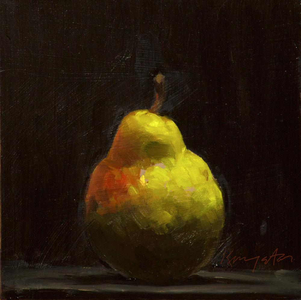 Winter  Pear 6 x 6 oil on panel
