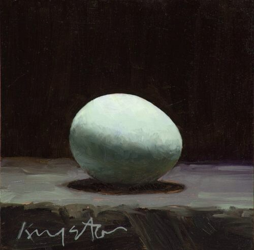 Blue egg 6 x 6 oil on panel