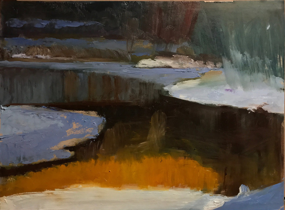 Skinners Falls Sketch 15 x 20 oil on gessoed illustration bord