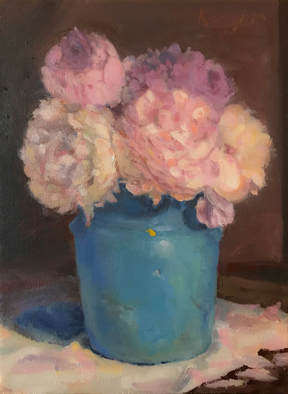 Ma's Cookie Jar with Peonies 12 x 9 oil on canvas 2017
