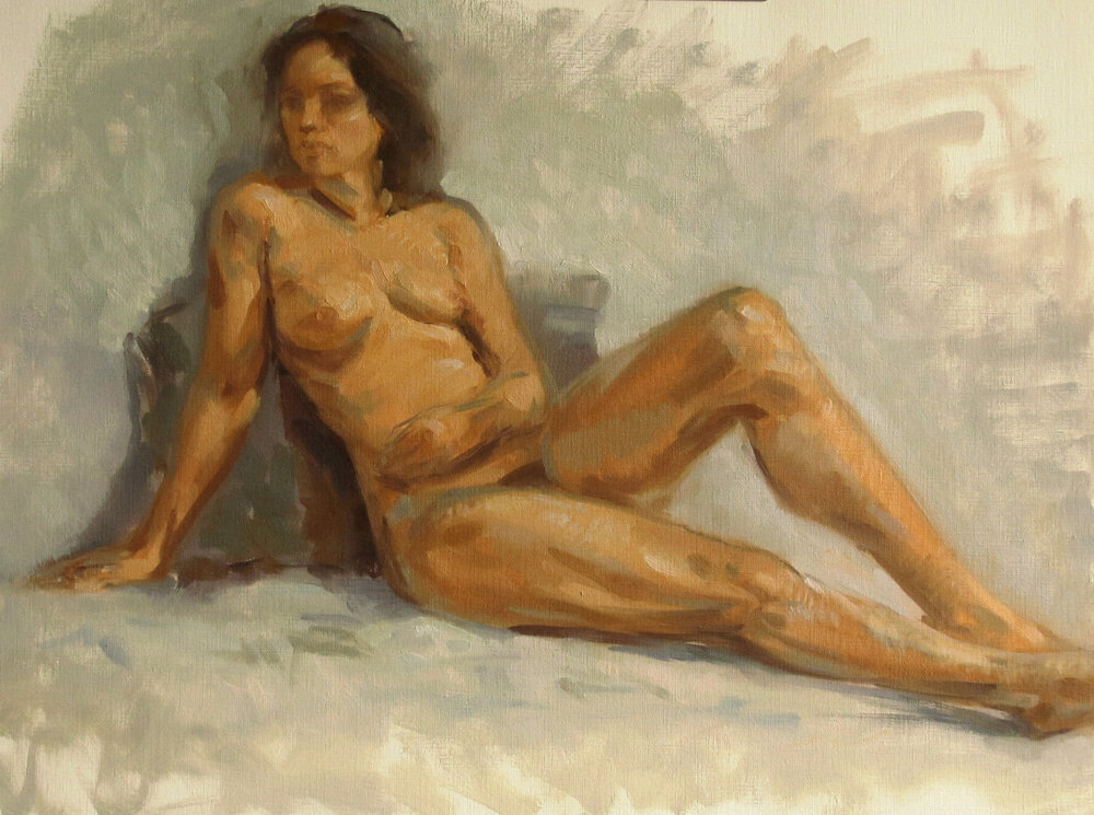 Judith Reeve. Nude on Gray 18 x 24 o/p
