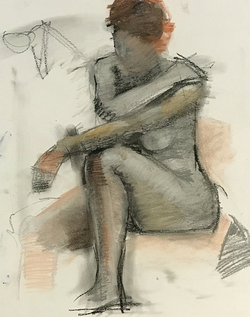 Jim Kingston. Seated Study 24 x 18 chalks on bristol